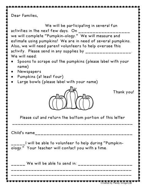 Parent Letter Common Math Pumpkin Math From Mandy S Tips For Teachers October