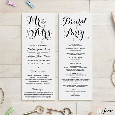 wedding program template wedding order of service 2480548