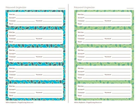 password organizer template 7 best images of printable password organizer template