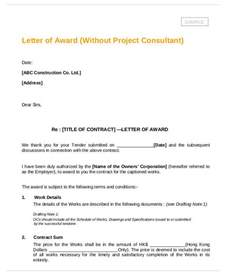 Contract Award Letter Project Award Thank You Letter Sle 9 Exles In Word Pdf