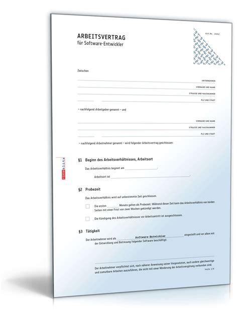 Absage Bewerbung Erstellen Arbeitsvertrag Softwareentwickler Muster Zum