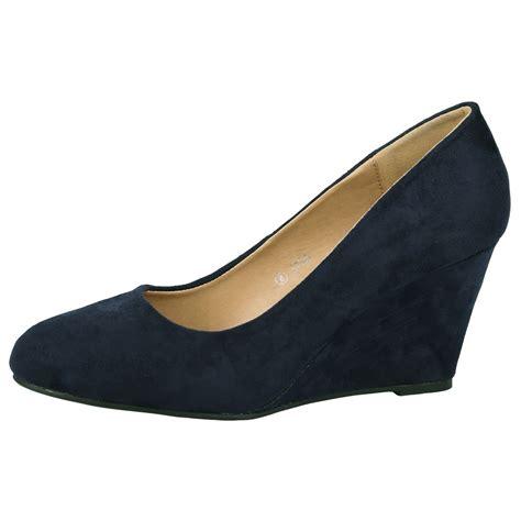 womens mid heels wedges pumps work office formal