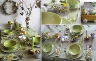 Easter table setting idea green themed nature feel easter egg tree