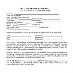 8 vacation rental agreements free sample example format