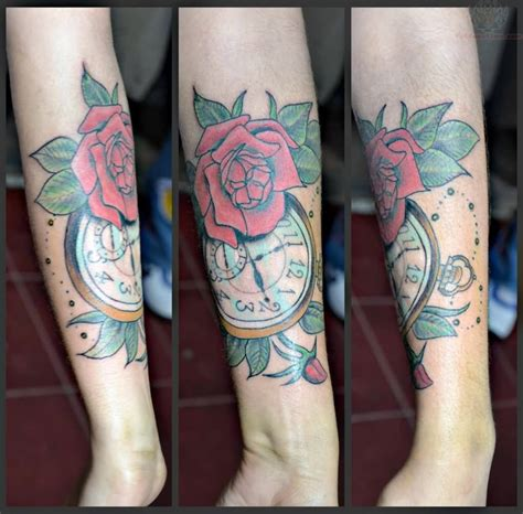 clock with roses tattoo clock images designs