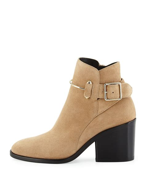 Heels Suede 2warna 17 balenciaga chunky heel suede ankle boots in lyst