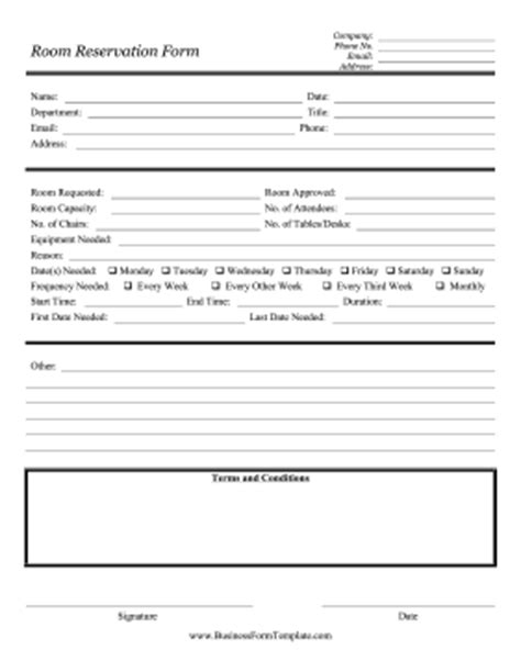 room reservation form template