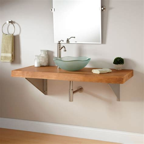 Triangular Bathroom Sinks by 49 Quot Edge Teak Wall Mount Vessel Sink Vanity