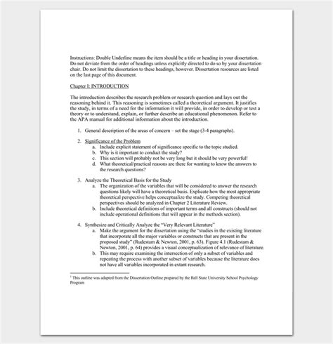 dissertation synopsis exle dissertation outline template 8 for word pdf format