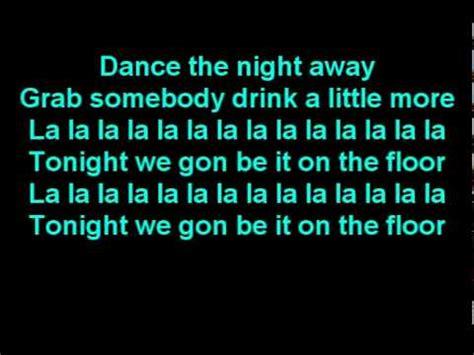ft pitbull on the floor lyrics on screen