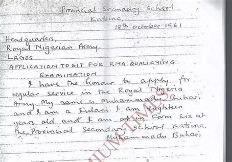 application letter to join the army see the letter buhari wrote to join army at age
