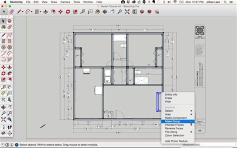 layout plan view draw a floor plan in sketchup from a pdf tutorial