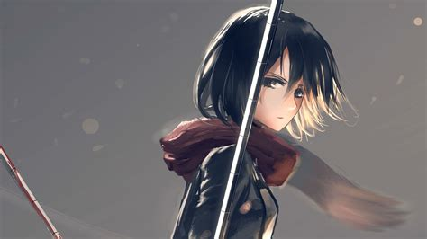 anime girl short hair wallpaper short hair scarf black hair anime girls blood mikasa