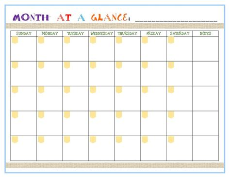 printable at a glance monthly planner month at a glance planner printable calendar template 2016