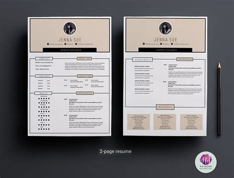2 page resume template modern 2 page resume template on behance