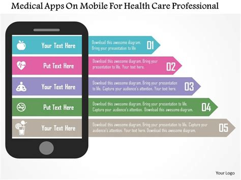Medical Apps On Mobile For Health Care Professional Flat Health Care App Free Ppt Templates