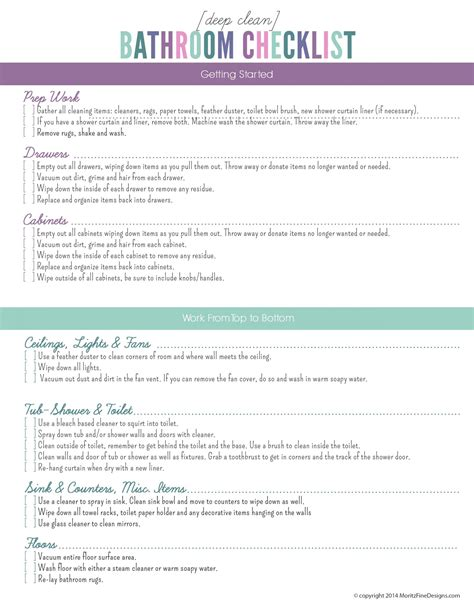 bathroom deep cleaning deep clean the bathroom checklist free printable