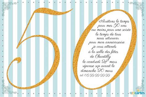 texte invitation anniversaire 50 ans 123 cartes