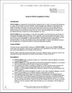 Hipaa Policy Template hipaa compliance policies and procedures