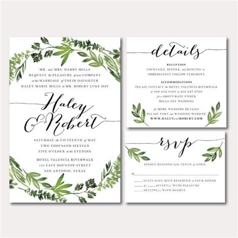 printable wedding invitation suites best 25 botanical wedding invitation suites ideas on