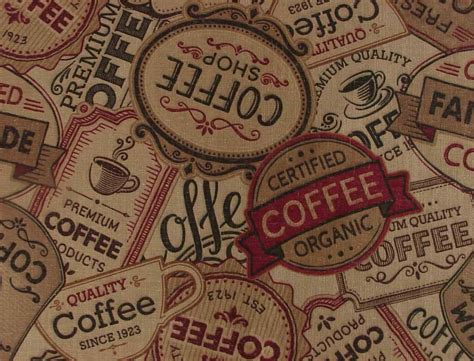 Coffee Print coffee fabric java cafe theme