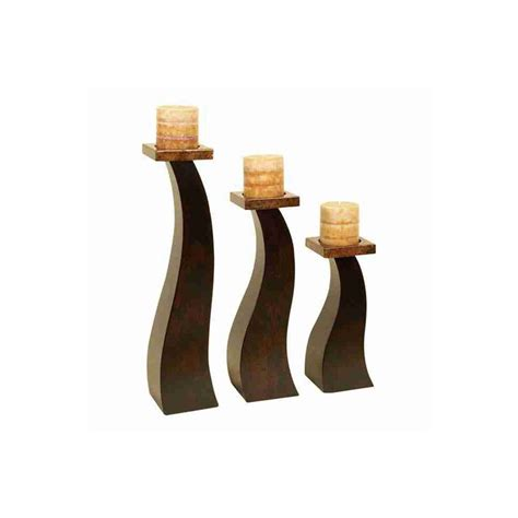 3 Candle Stand Shop Woodland Imports 3 Candle Wood Pillar Candle Holder