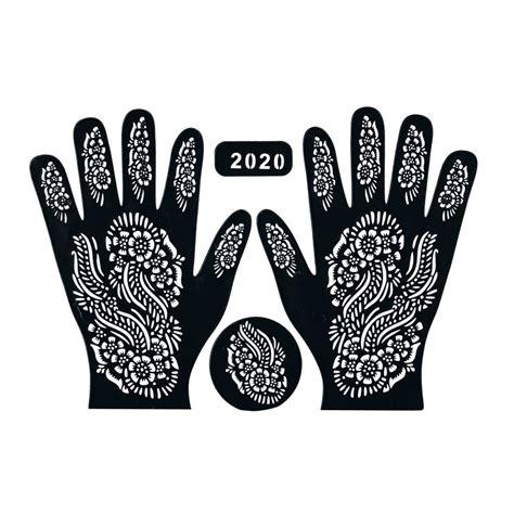 henna schablone tattoo hennaschablone hand 3teilig 32