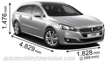 peugeot 508 sw interni dimensions des voitures peugeot avec longueur largeur et