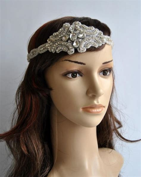 beaded flapper headpiece rhinestone 1920s headpiece flapper headpiece