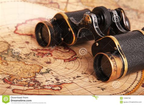 old binoculars on antique map royalty free stock photos image 12989758