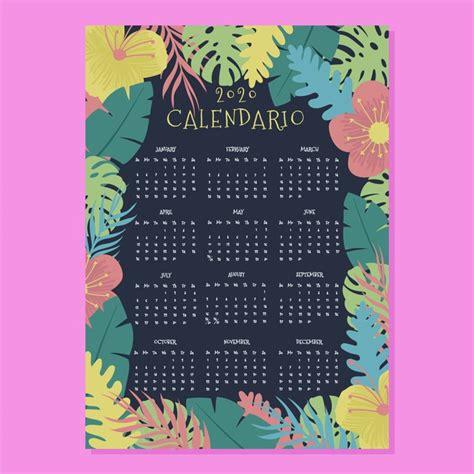 tropical flowers calendar  template vector