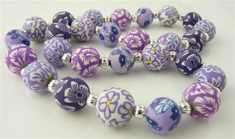 polyclay jewelry lavender 14mm polymer clay necklace snazzy