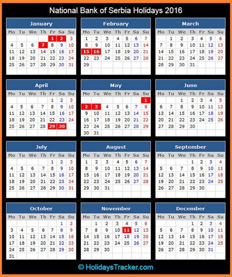 Serbia Calendã 2018 National Bank Of Serbia Holidays 2016 Holidays Tracker