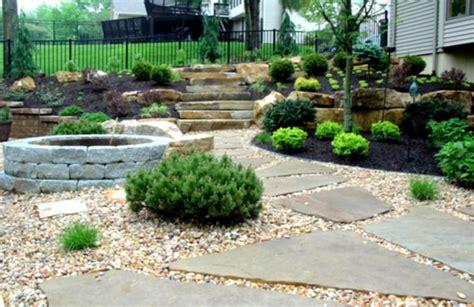 backyard landscaping diy outdoor concrete deck with pit for inexpensive