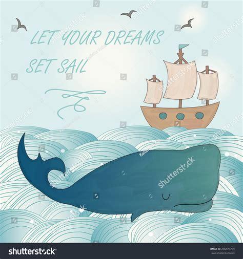 Let Me Sail Baby Blue Kemeja Putih Kawaii Seifuku Sailor Biru Pastel sea background watercolor whale ship stock vector 286870709