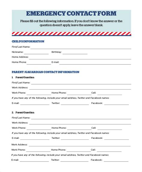 student contact form template 8 sle emergency contact forms sle templates