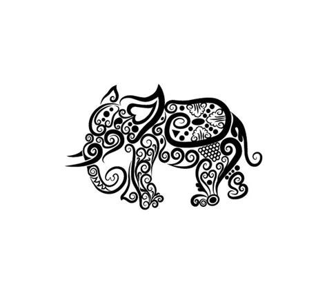 elephant tattoo clipart free vector collection of animals silhouettes art vector