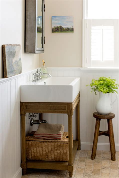 glossy cafe au lait upper cabinets in small space kitchen bathroom beadboard cottage bathroom bhg