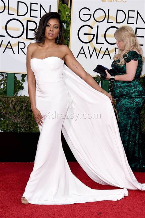 Wave Of White Gowns Hits Golden Globes by Taraji Henson White Strapless Prom Dress Golden