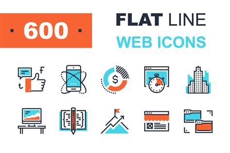 flat line web icons digibits digital download