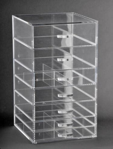 clear acrylic makeup organizer cube with 7 drawers glamourebox acrylic cosmetic cube organizer makeup case 7