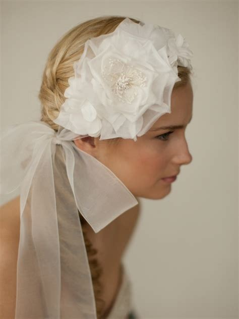 Wide Silk Jewelled Headbands At Shop Intuition by Handmade Ivory Silk Flower Bridal Headband With Wide Sheer