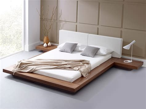japanese bed modern bedroom furniture harmonia natural walnut platform
