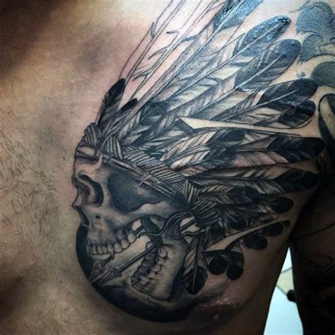 tattoo chest indian accurate painted black ink old indian skull tattoo on