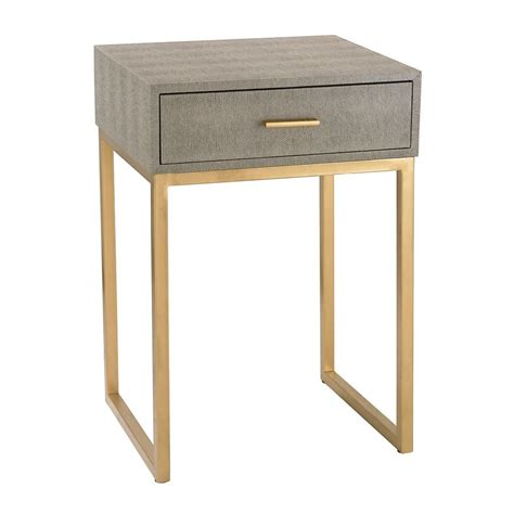 Grey Side Table Shagreen Side Table In Grey 180 010 Destination Lighting