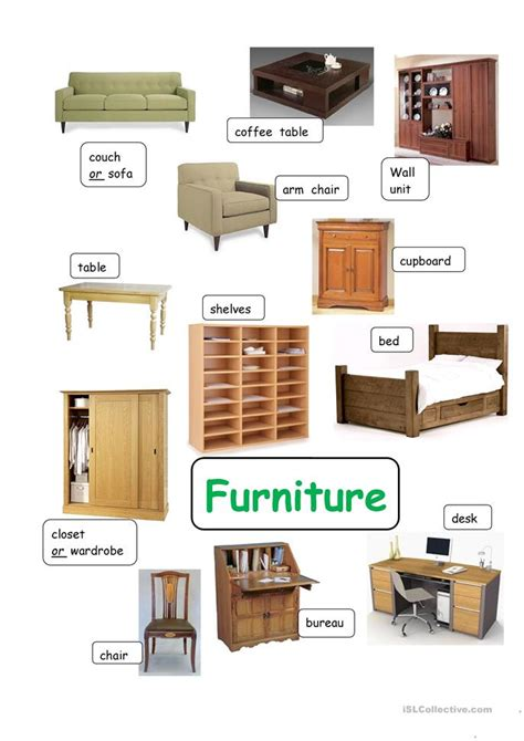 words for couch category words furniture worksheet free esl printable