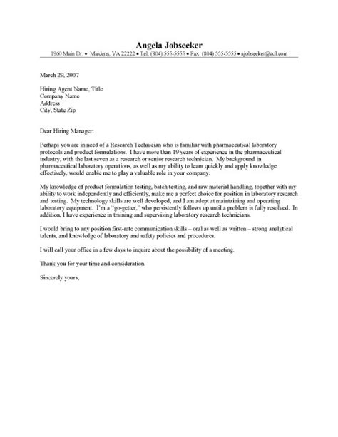 Research Technician Cover Letter by Lab Technician Cover Letter Resume Cover Letter