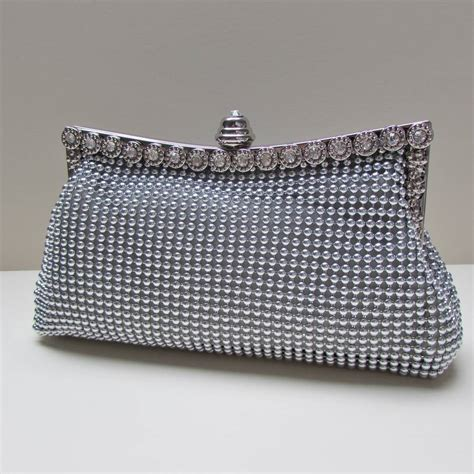 beaded clutch bag vintage style silver beaded clutch bag purse by yatris