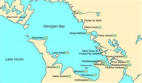 georgian bay canada map cruising georgian bay boat yacht directory marinas