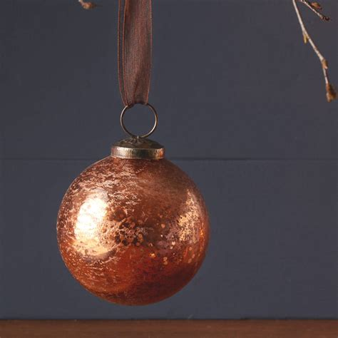 Handmade Glass Baubles - handmade glass copper bauble by the